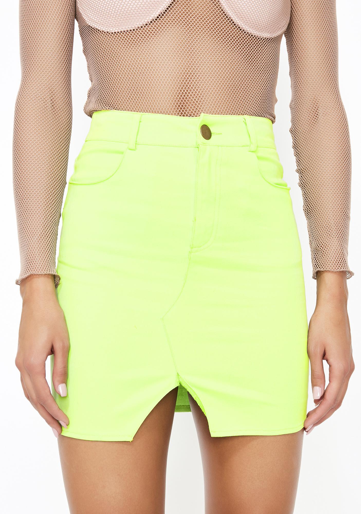 458ac1e4915a Neon Denim Mini Skirt   Dolls Kill