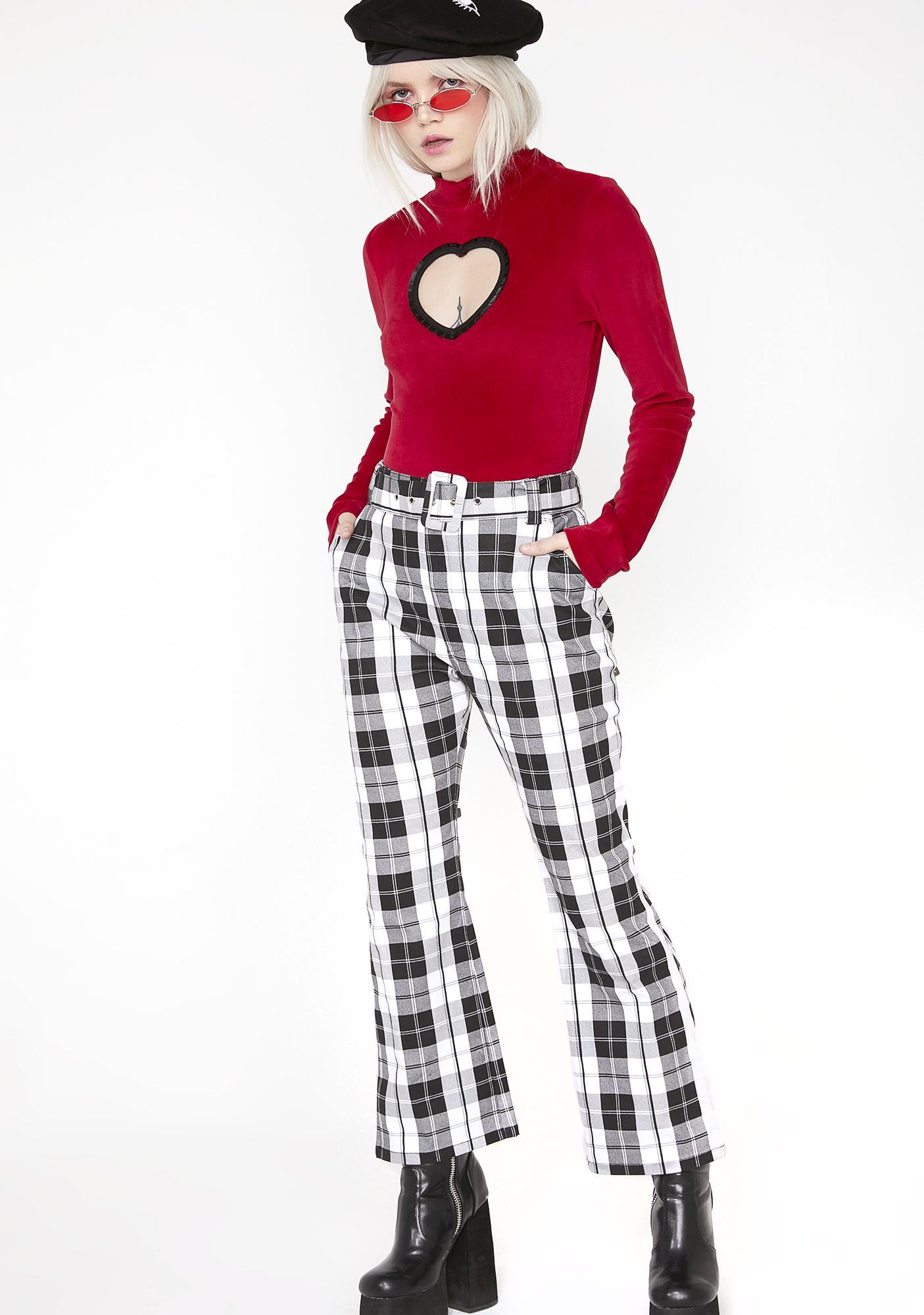 Lazy Oaf Heart Cut Out Velvet Bodysuit