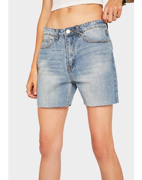 Mid Wash Cut Off Denim Shorts
