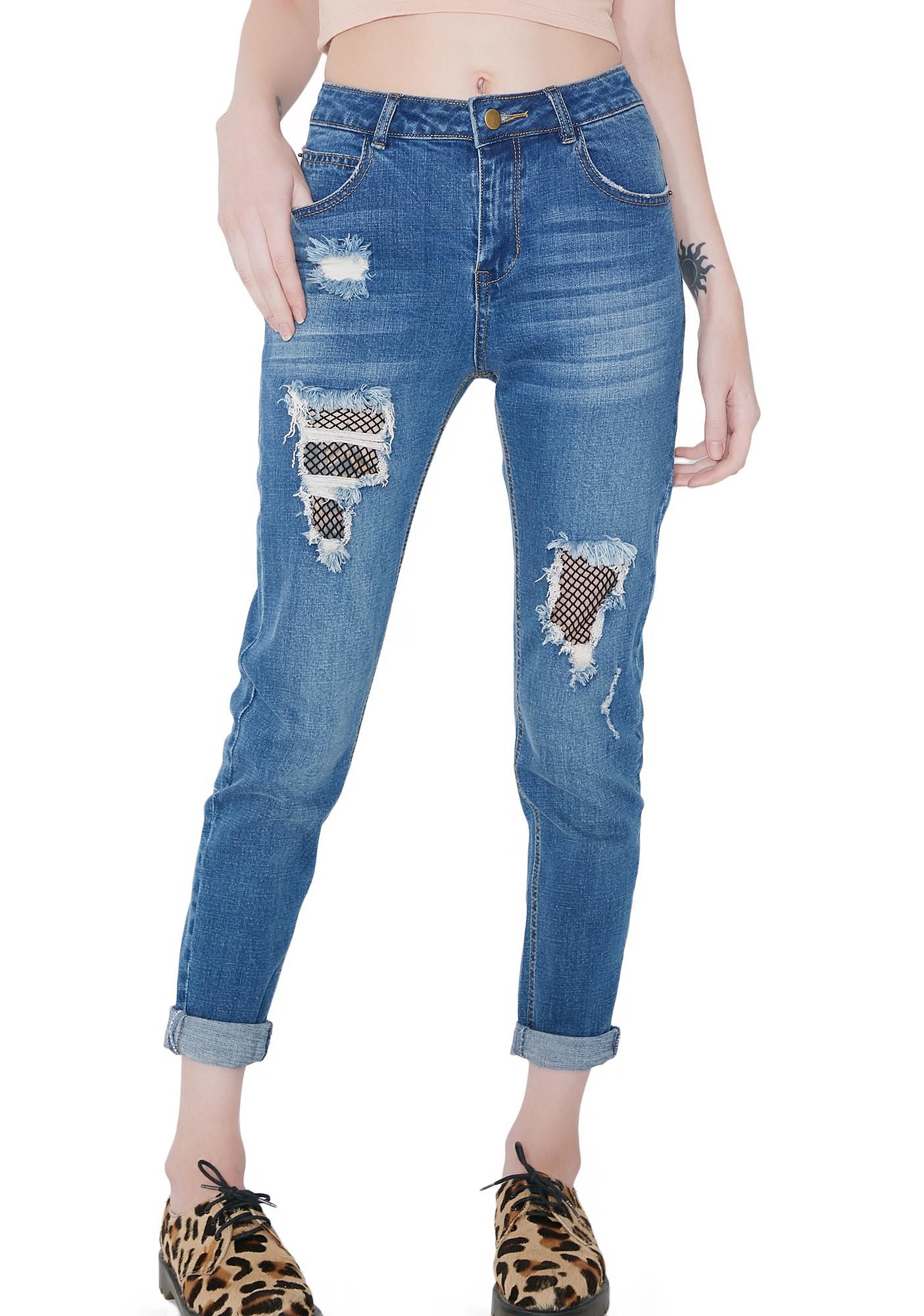 Whole Lotta Trouble Fishnet Patch Jeans