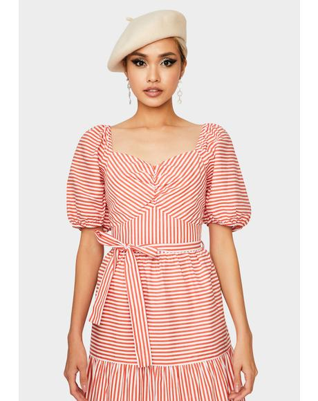 Red Stripe Midi Dress