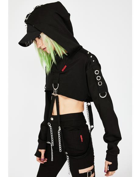 Chain Strap Crop Hoodie