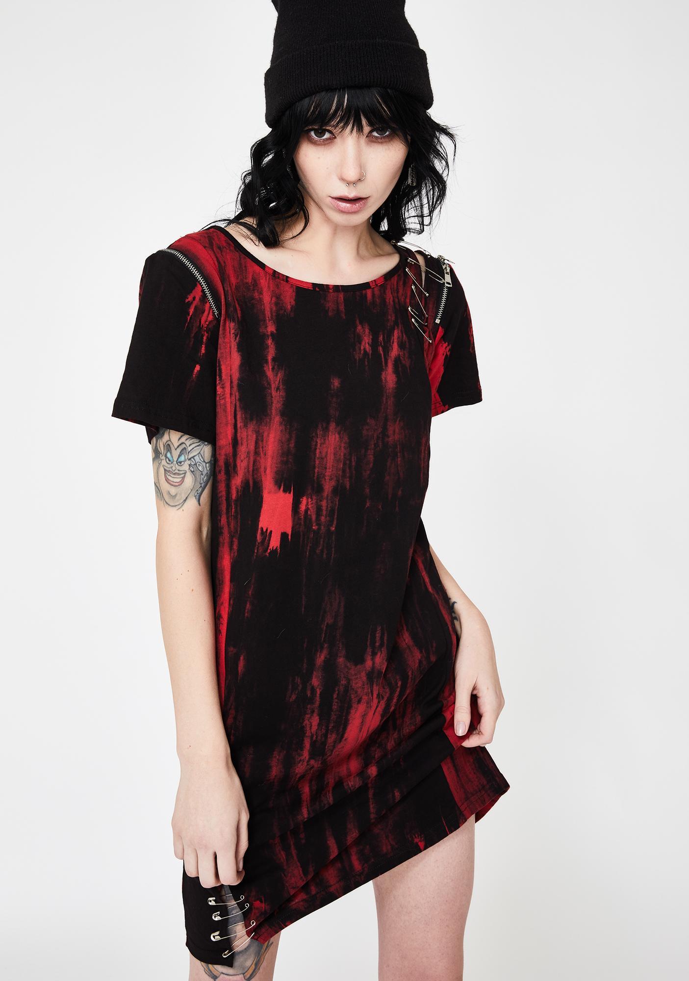 Disturbia Red Tie Dye Instigator Tee Dress