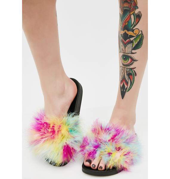 Rainbow Fuz Slide Sandals