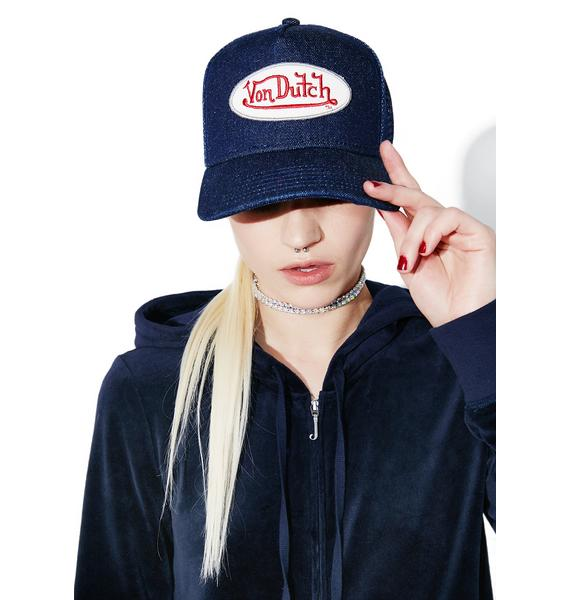 Von Dutch Denim Logo Trucker Hat