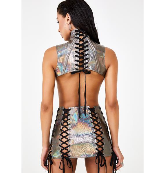Club Exx Bronze Deadly Dose Snakeskin Skirt