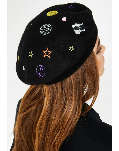 Saturn Embroidered Beret