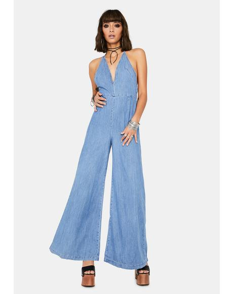 Josie Halter Denim Jumpsuit