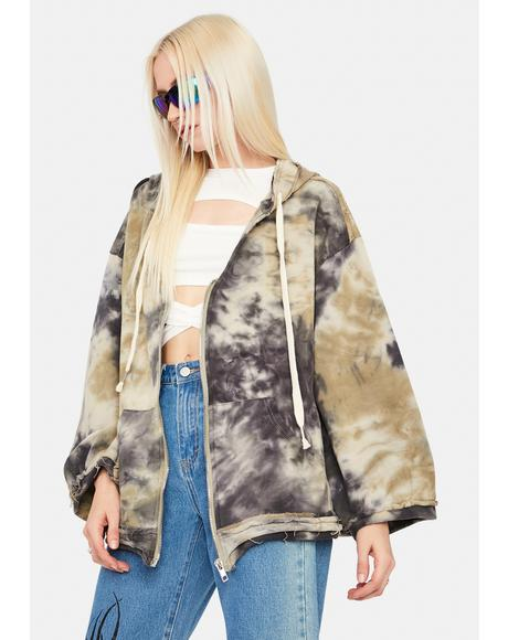 Sage Grunge Motion Tie Dye Zip-Up Hoodie