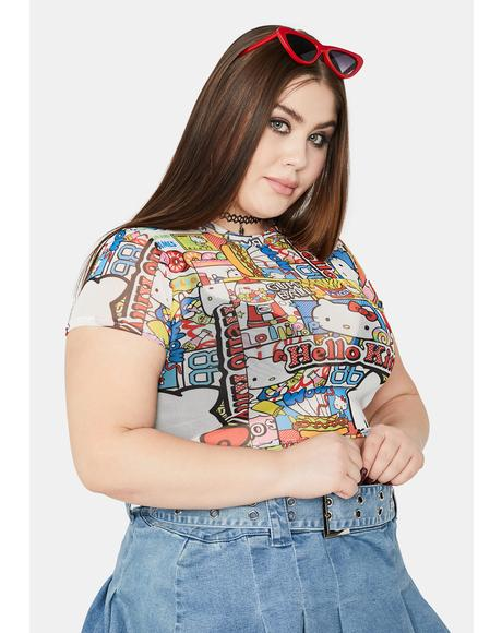 x Hello Kitty Curve Mesh Crop Tee