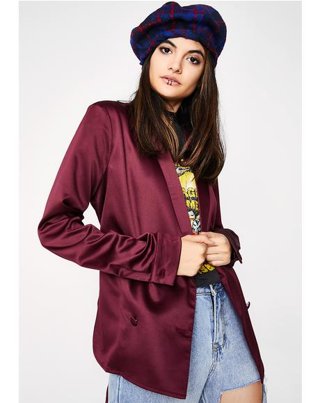 Steal Your Bae Satin Blazer