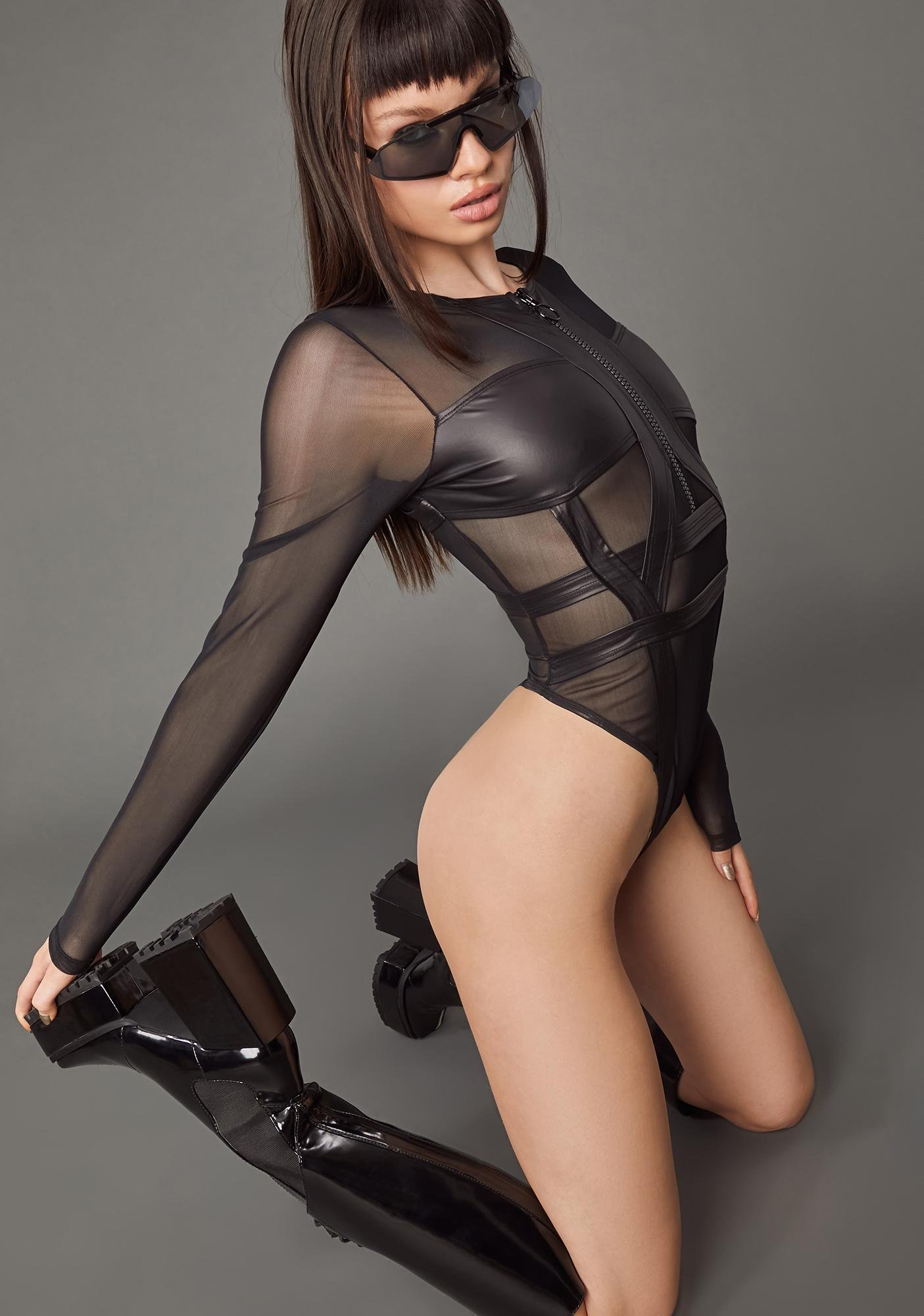 Poster Grl Pay Attention Mesh Bodysuit