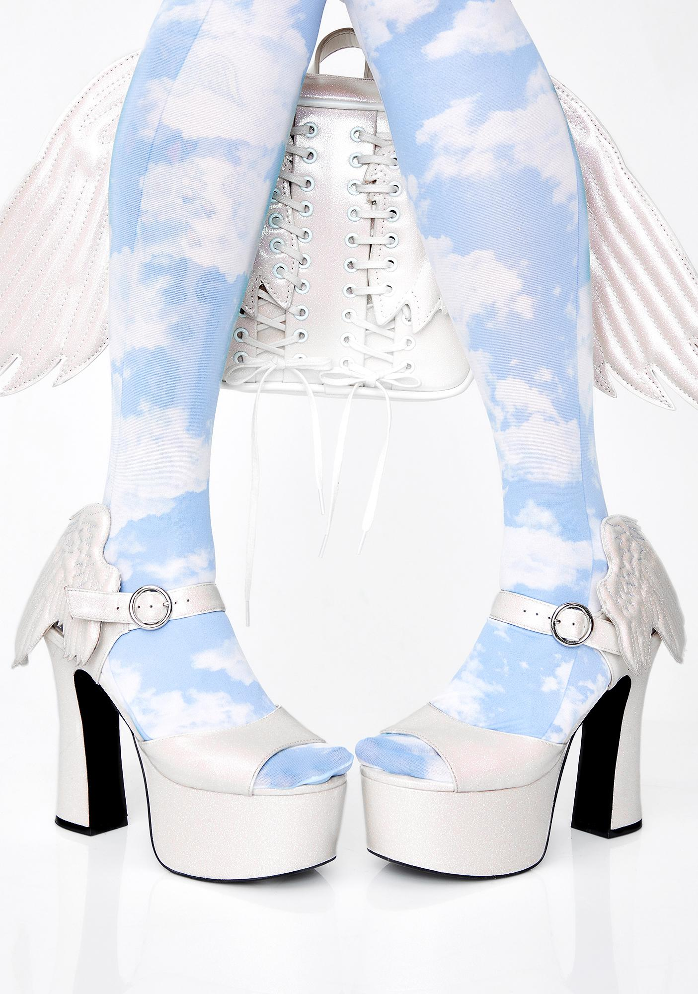 Sugar Thrillz Angel On Earth Glitter Heels