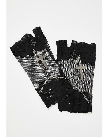 Pray To Me Lace Gloves