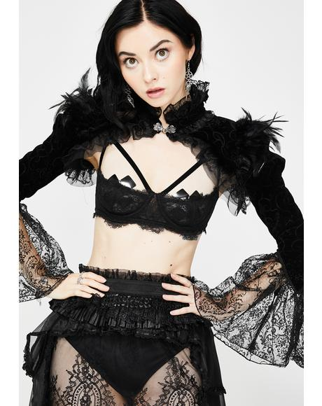 Lace Bell Sleeve Tulle Collar Shrug