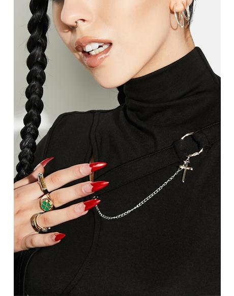 Punk Strap Chain Trumpet Sleeve Shirt