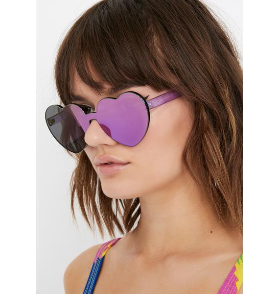 Grape Diet Dew Heart Sunglasses