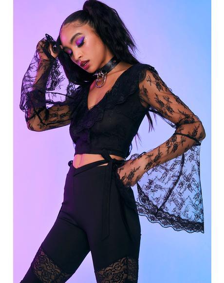 Mystical Romantic Floral Lace Ruffle Top