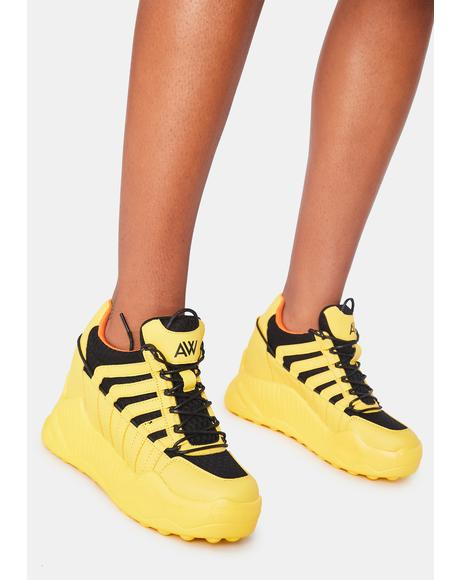 Yellow Durian Platform Sneakers