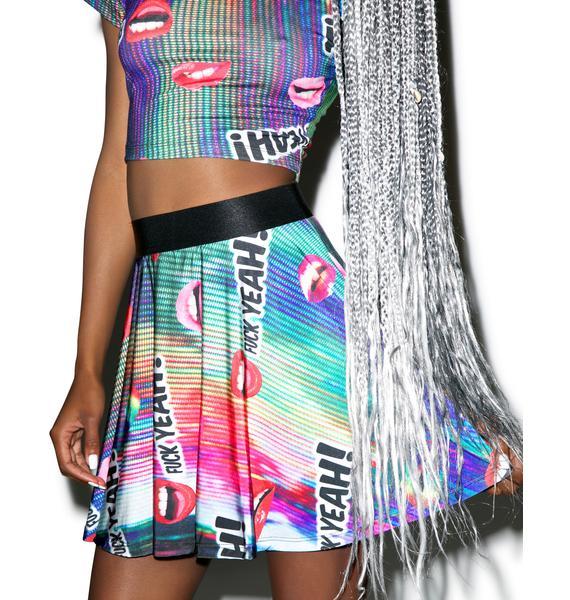 24HRS Fuck Yeah! Printed Skater Skirt