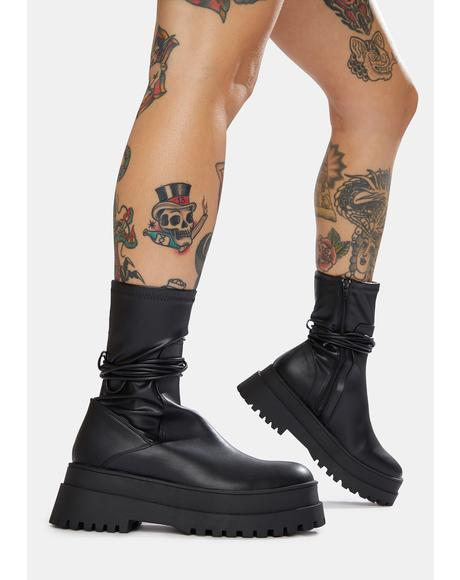 Black Finale Chunky Ankle Wrap Boots