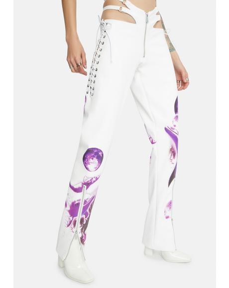 White Cyber Dolphin Lace-Up Trousers