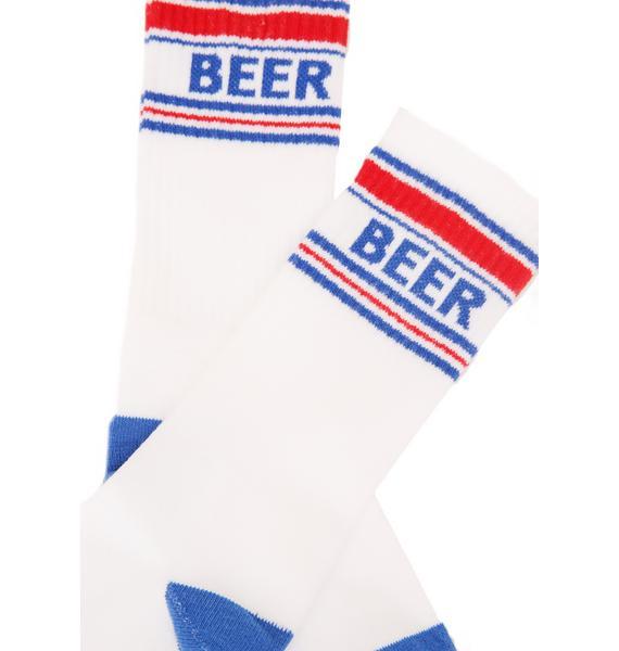 Gumball Poodle Beer Gym Crew Socks