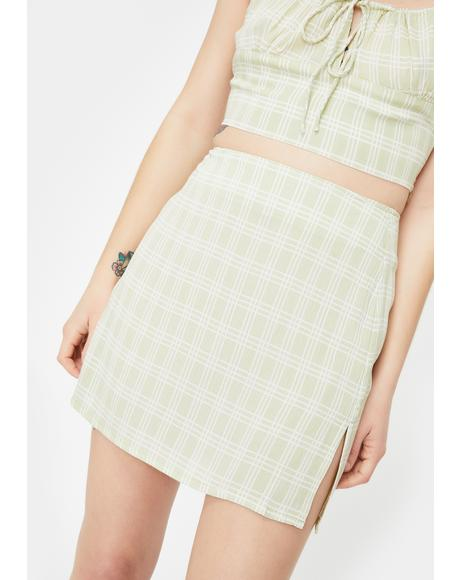 Sage Sheny Mini Skirt