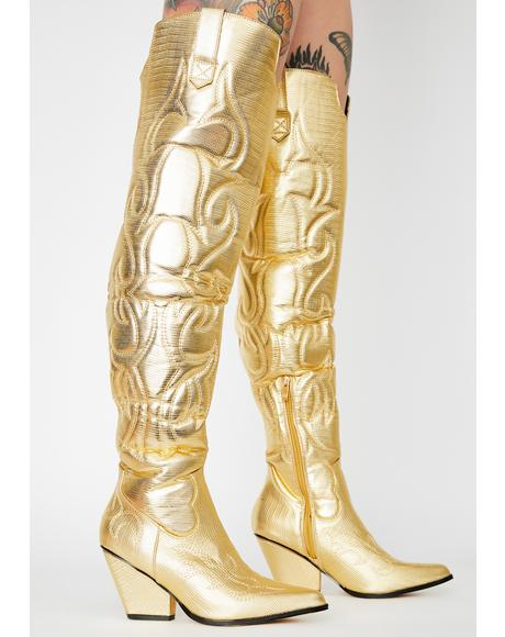 Disco Cowboy Metallic Boots