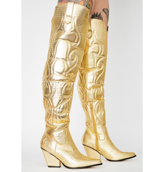 Disco Cowboy Metallic Boots