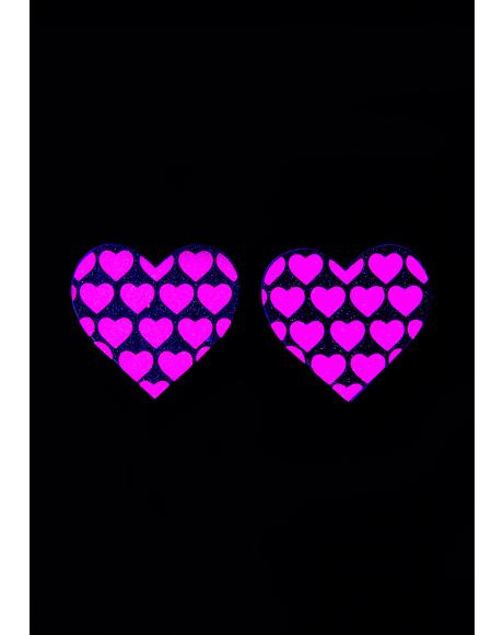 Glitter UV Heart On Hearts Pasties