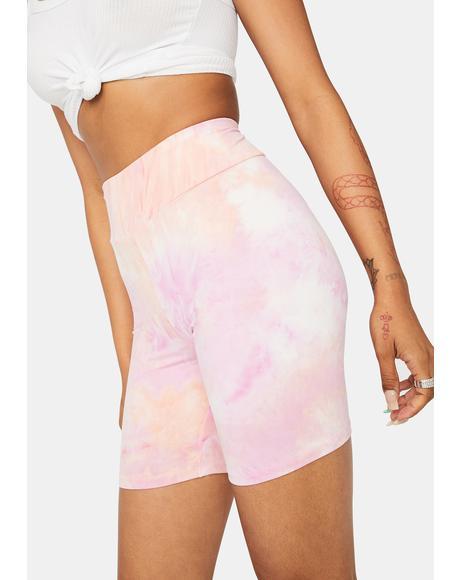 Sunset Chiller Vibes Tie Dye Biker Shorts