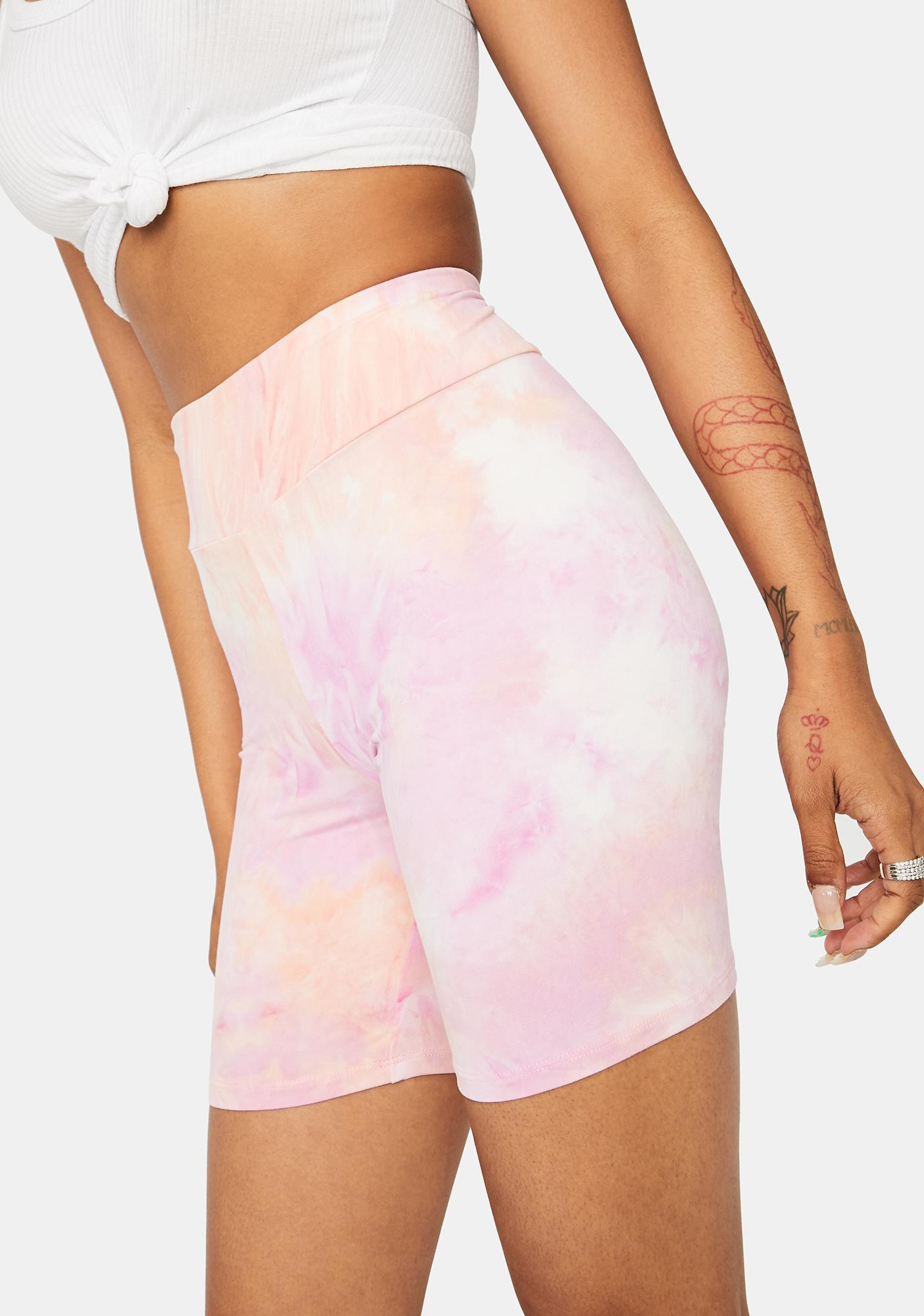 Sunset Chiller Vibes Tie Dye Biker Shorts