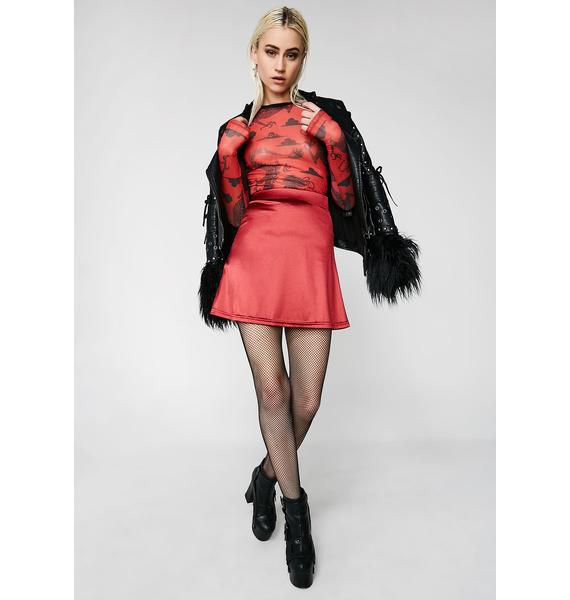American Deadstock X Internet Girl Crimson Software Satin Mini Skirt