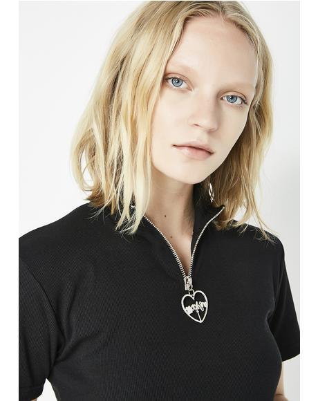 Little Black Zipper T-Shirt