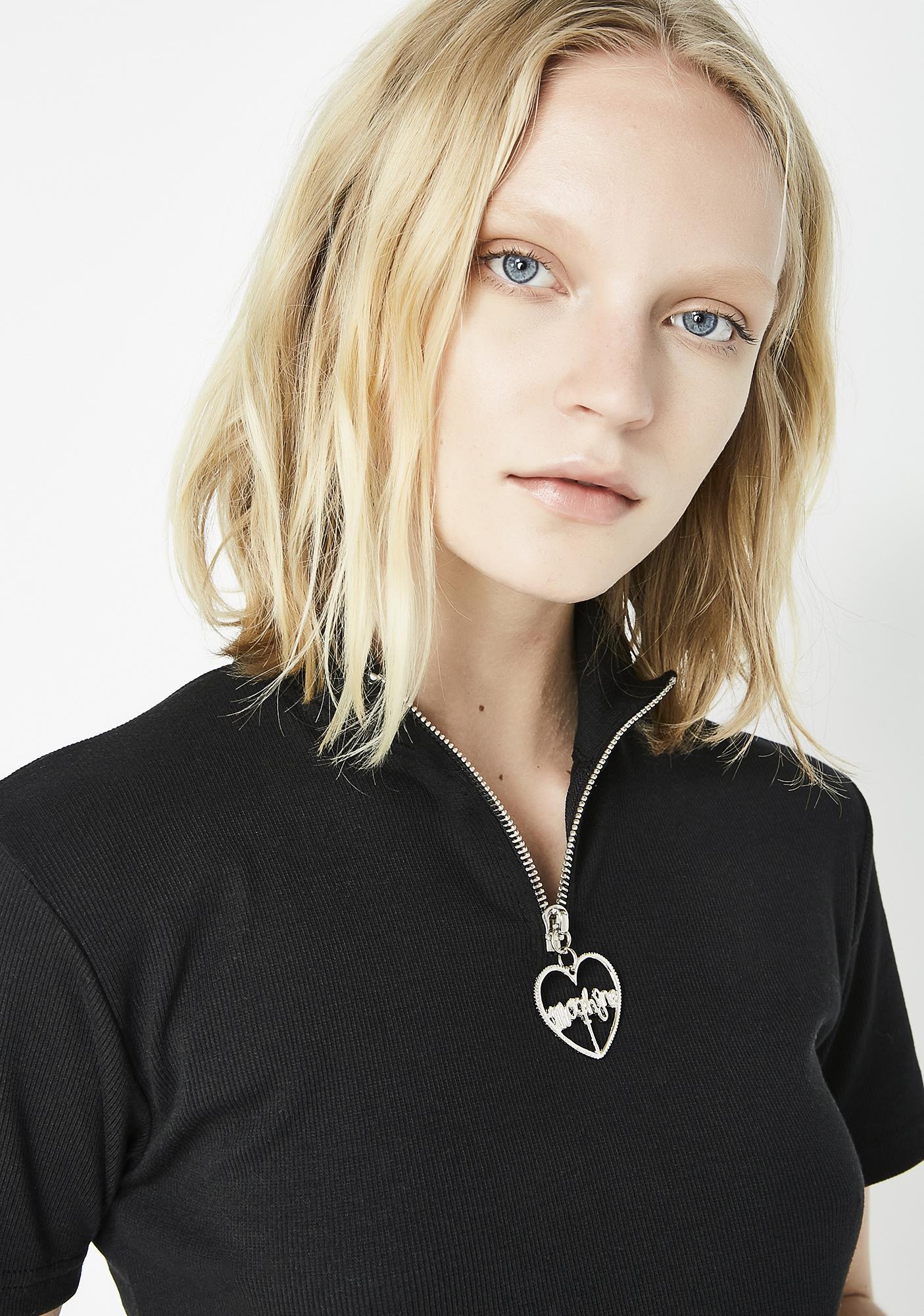 Morph8ne Little Black Zipper T-Shirt