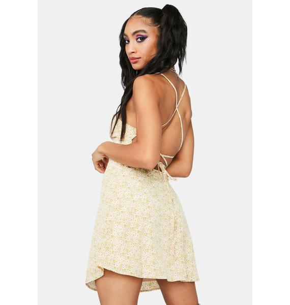 Playing Nice Floral Satin Mini Dress