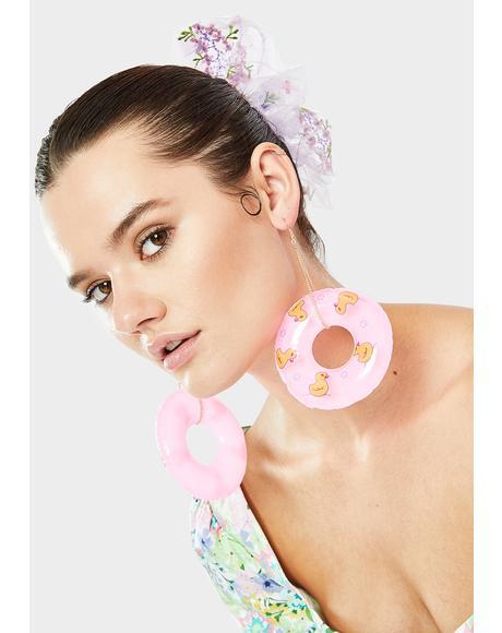 Pink Plucky Duck Pool Float Earrings