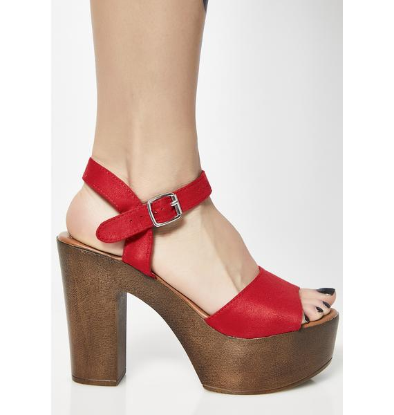 Cherry Walk In The Park Platform Sandals