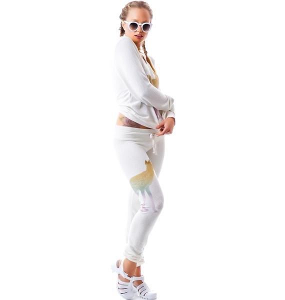 Wildfox Couture Rainbow Fawn Bottoms Vintage Varsity Skinny Malibu Sweats