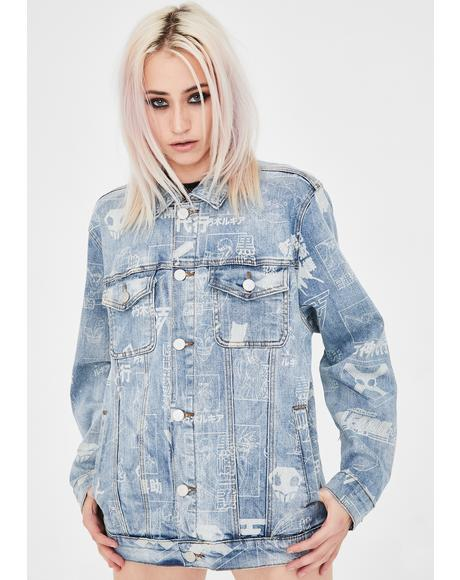 X Bleach Denim Light Wash Characters Jacket