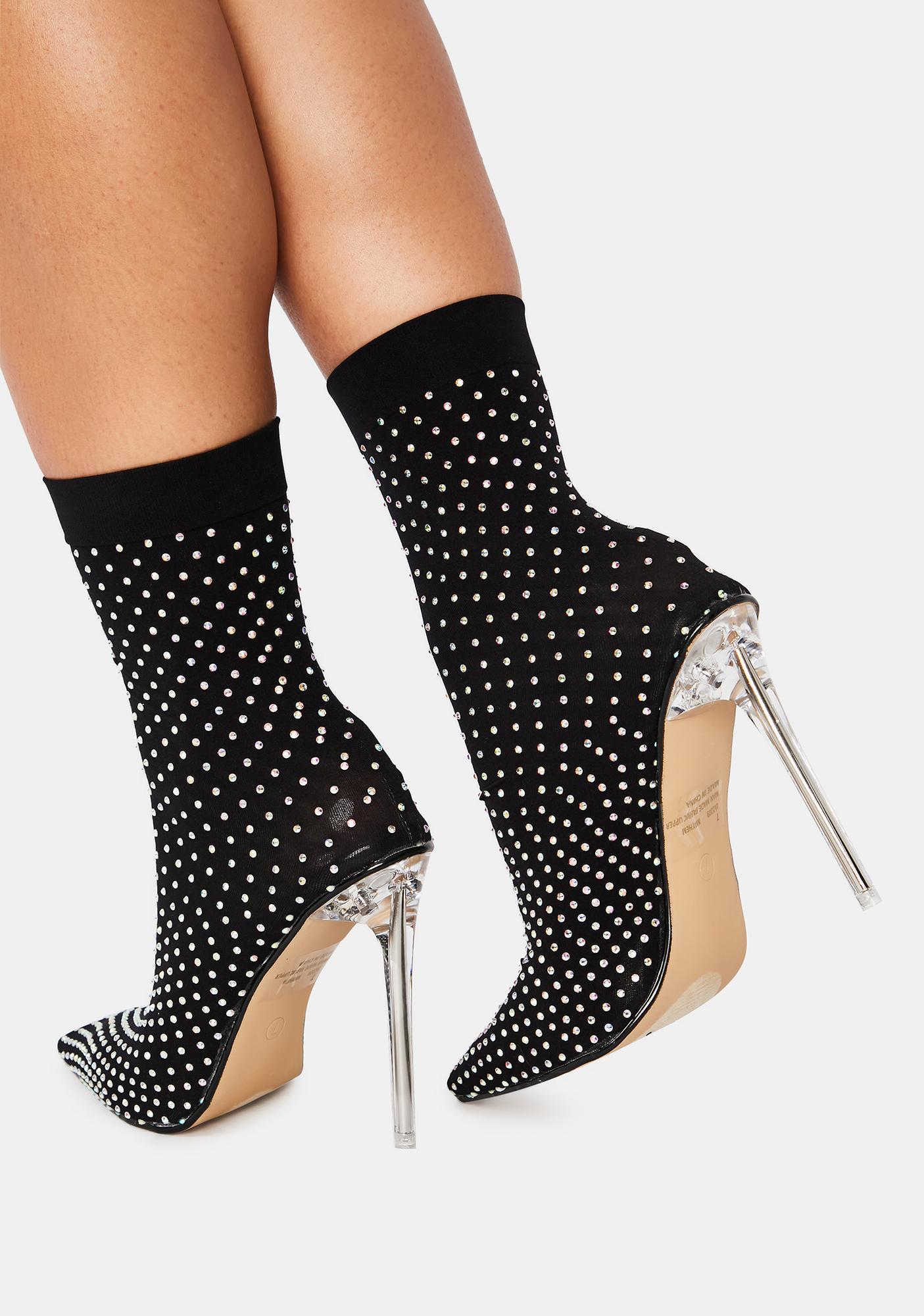 Midnight U Glow Girl Sock Bootie Heels