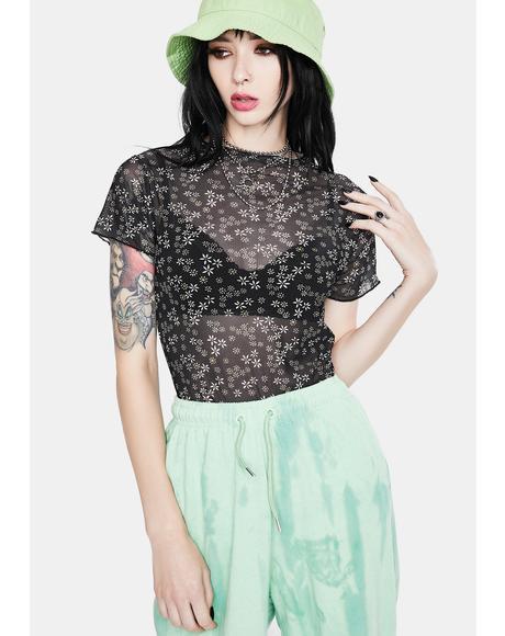 Black Floral Mesh Top