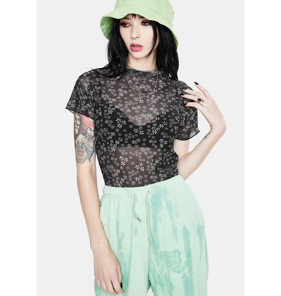 Daisy Street Black Floral Mesh Top