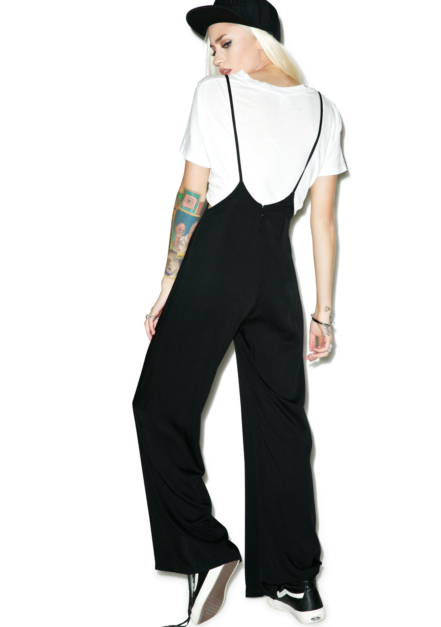 Wide-Leg Suspender Jumpsuit
