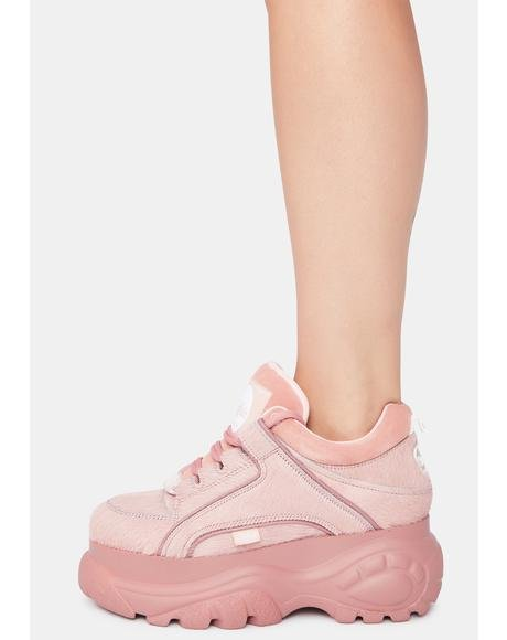 Pink Classic Low Fur Sneakers