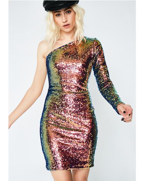 Pink Oil Slick Maria Dress