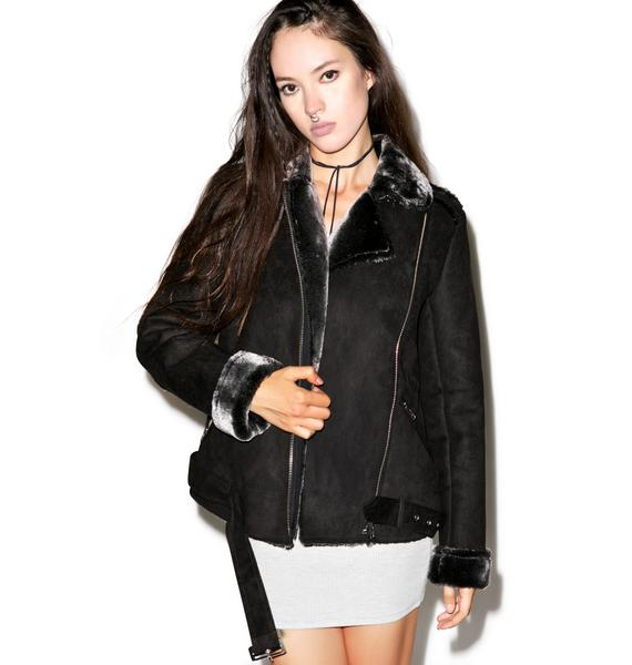 Mink Pink Under Control Aviator Jacket