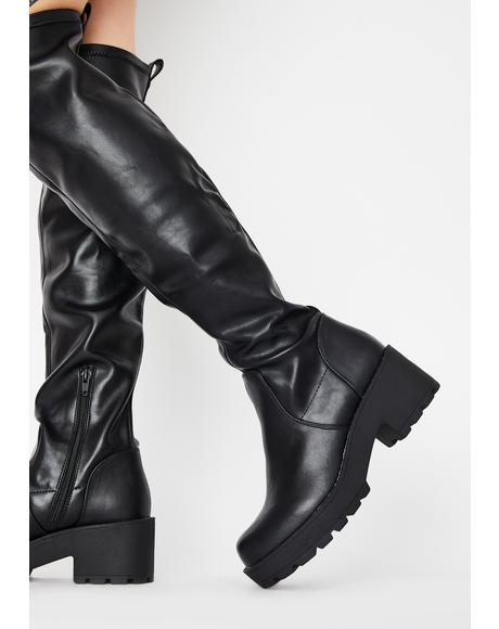 PU Passport Knee High Boots