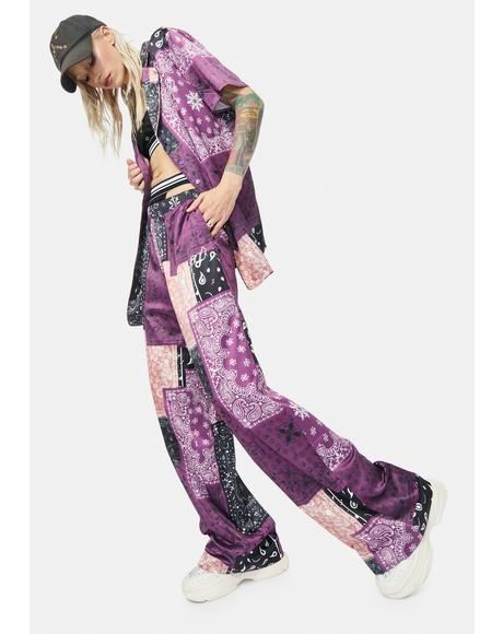 Patchwork Satin Slouch Trousers